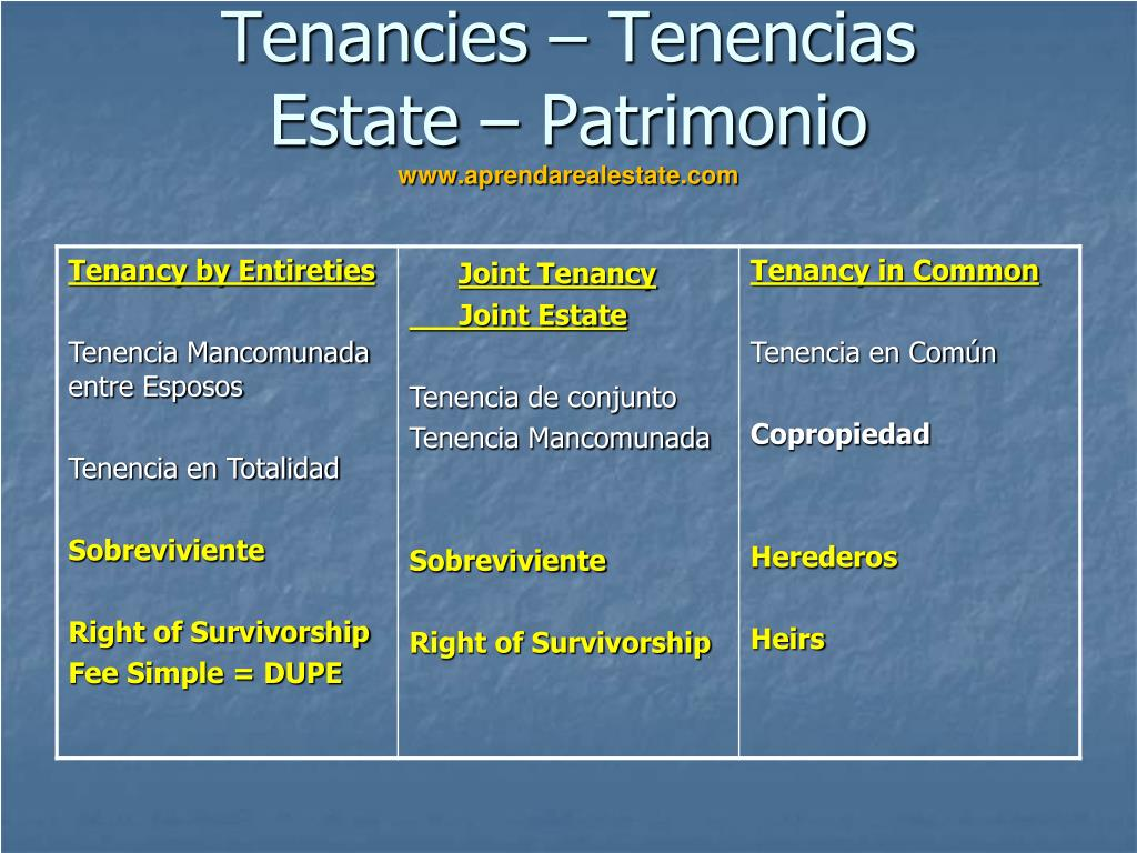 Tenancies – Tenencias