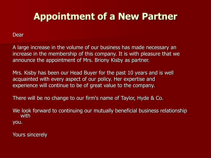Appointment of a New Partner