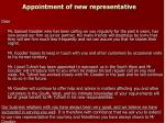 appointment of new representative