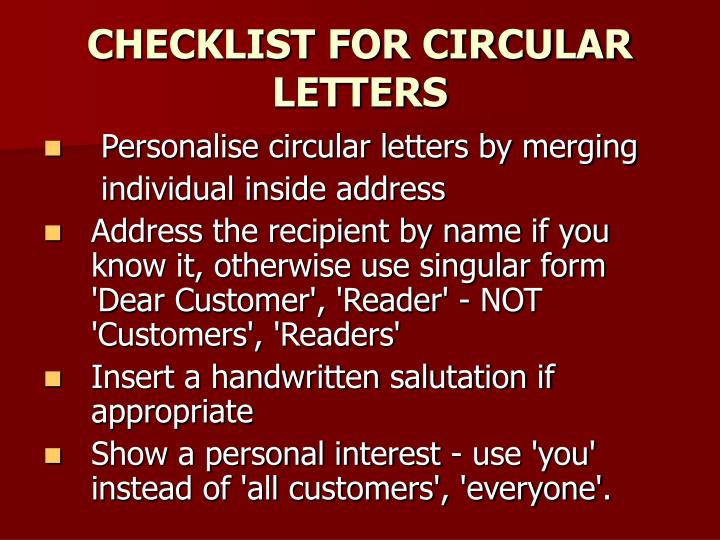CHECKLIST FOR CIRCULAR LETTERS