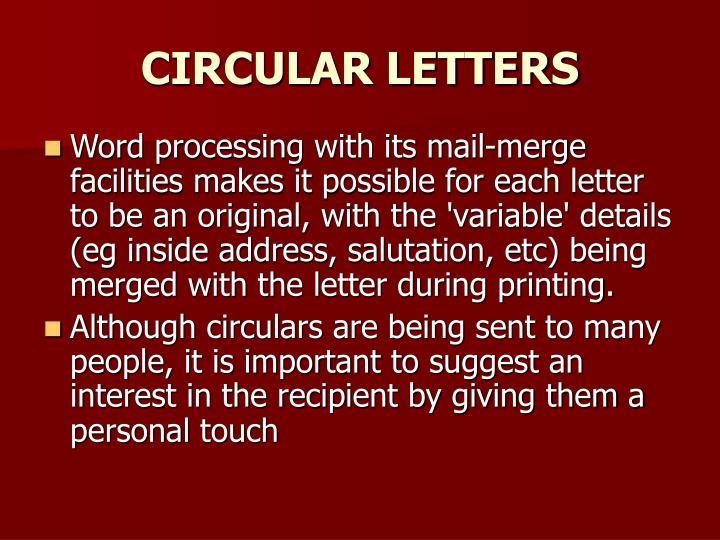 CIRCULAR LETTERS