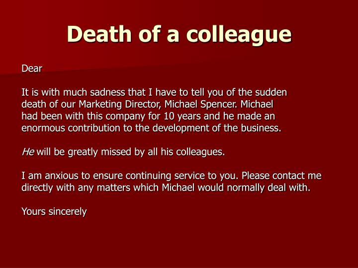 Death of a colleague