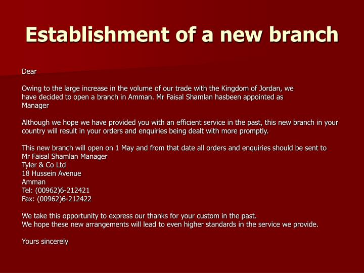 Establishment of a new branch