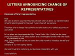 letters announcing change of representatives