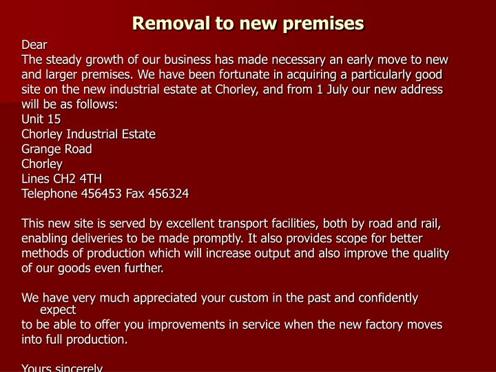 Removal to new premises