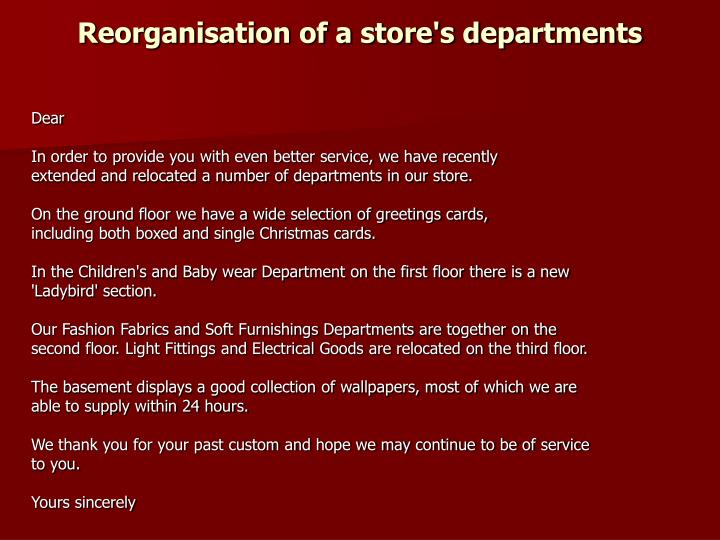 Reorganisation of a store's departments