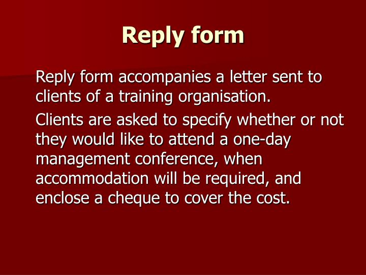 Reply form