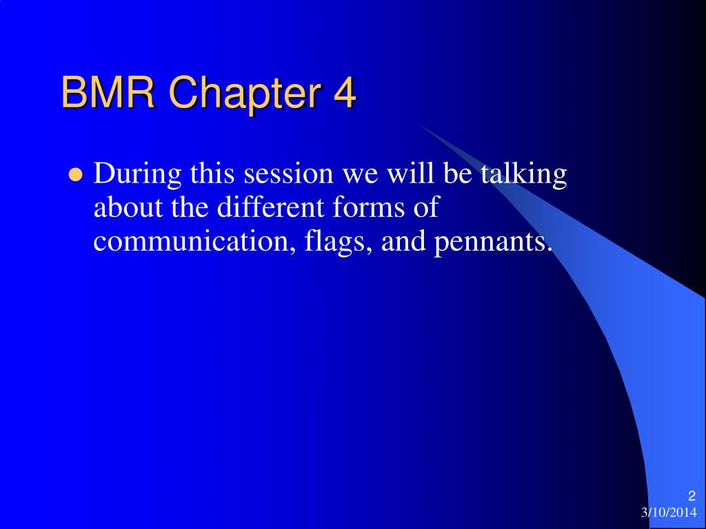BMR Chapter 4