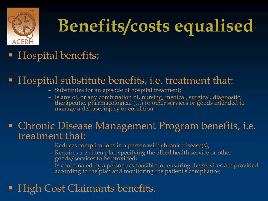 Benefits/costs