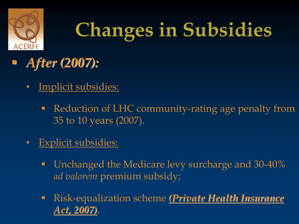 Changes in Subsidies