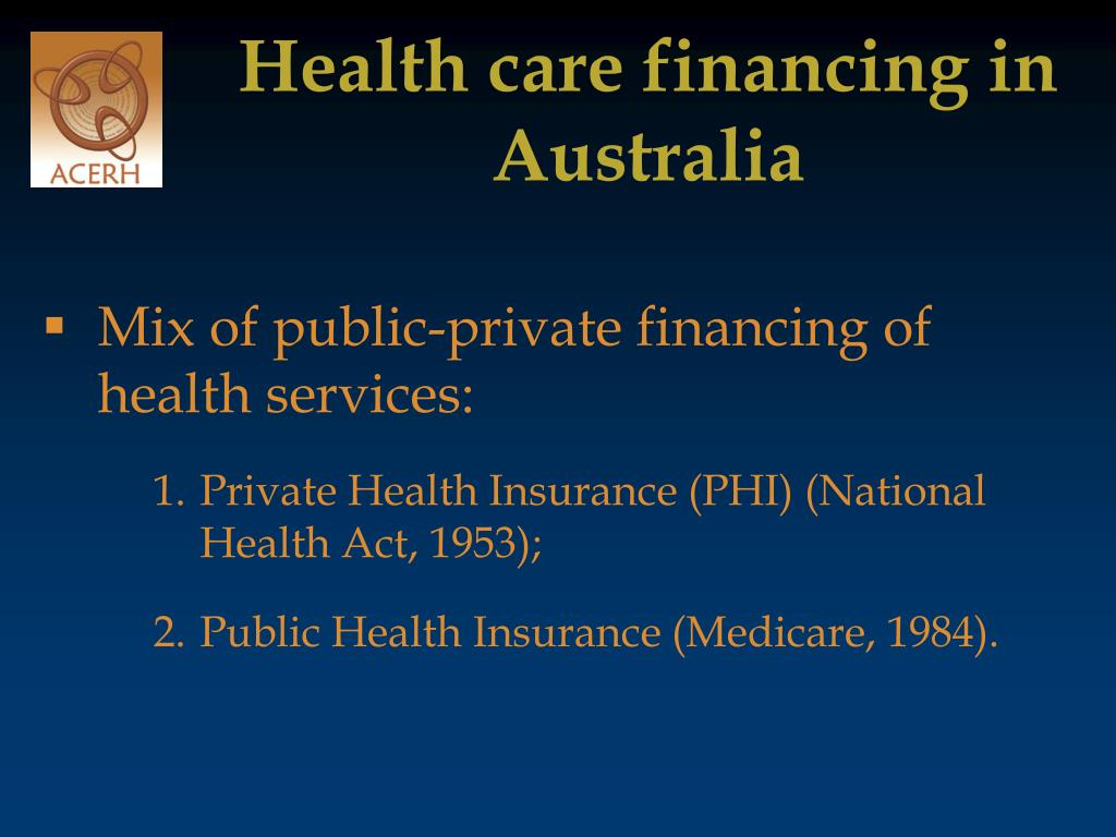 Health care financing in Australia