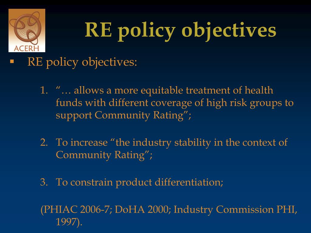 RE policy objectives