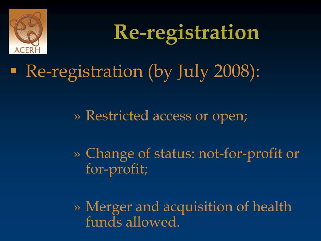 Re-registration