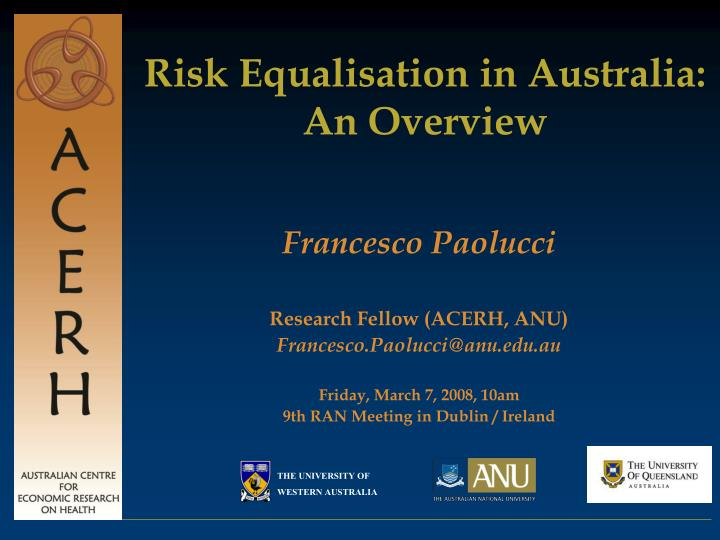 Risk equalisation in australia an overview