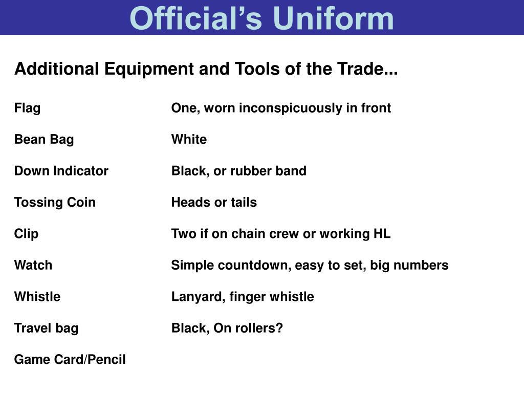 Official's Uniform