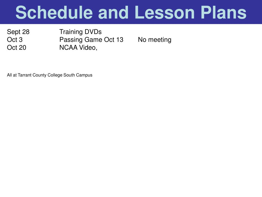 Schedule and Lesson Plans