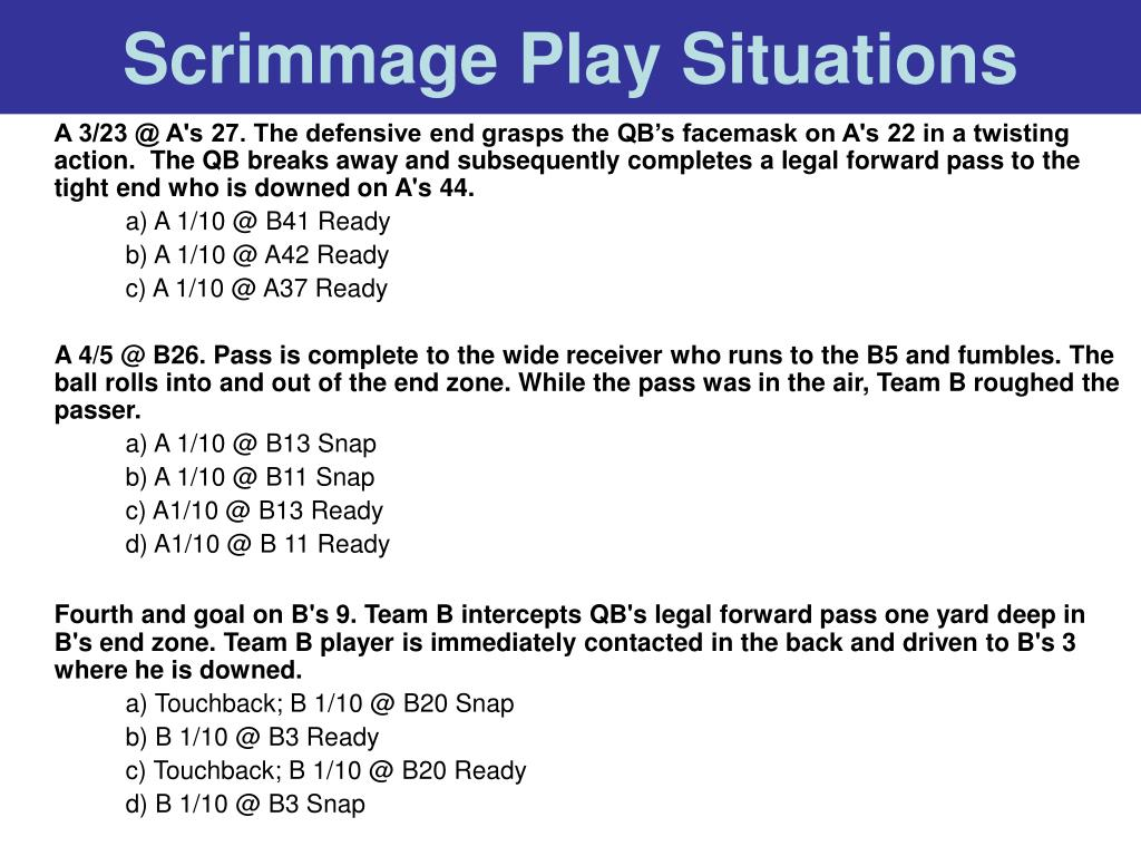 Scrimmage Play Situations