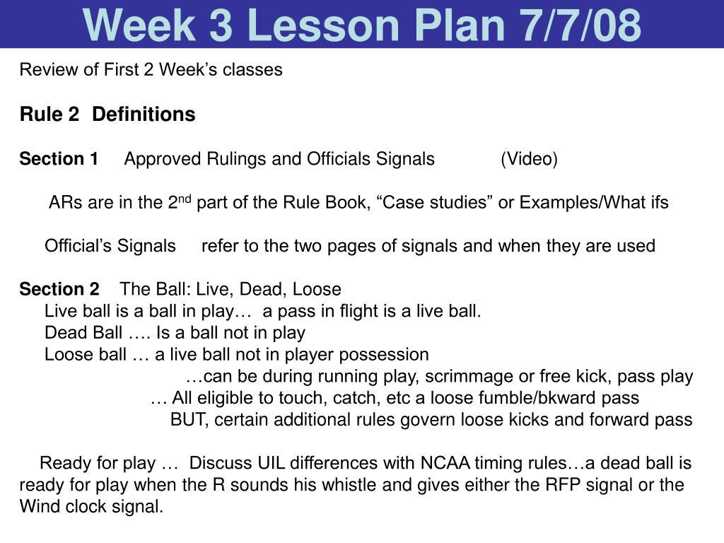 Week 3 Lesson Plan 7/7/08