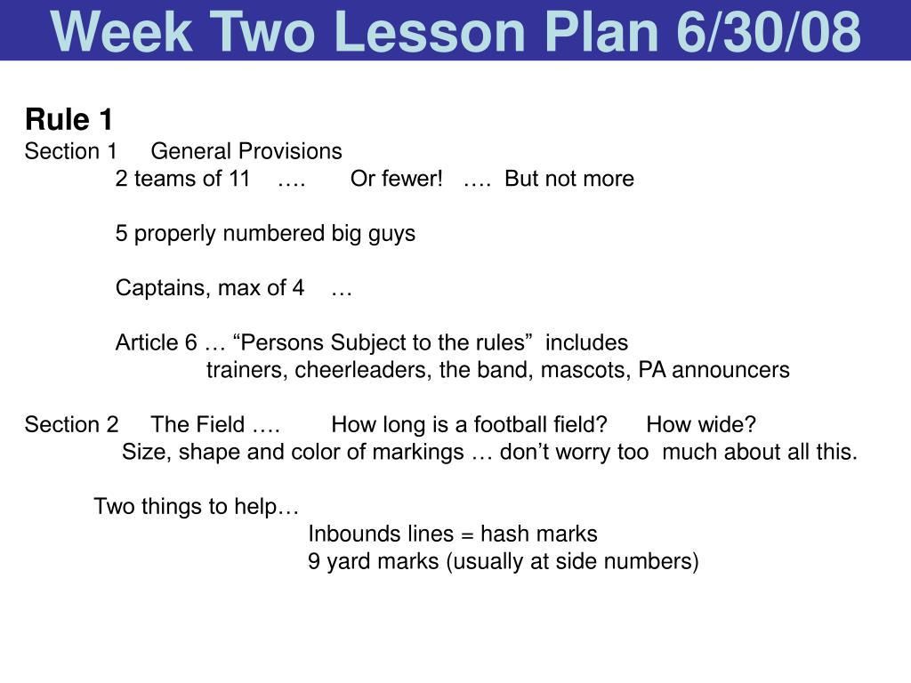 Week Two Lesson Plan 6/30/08
