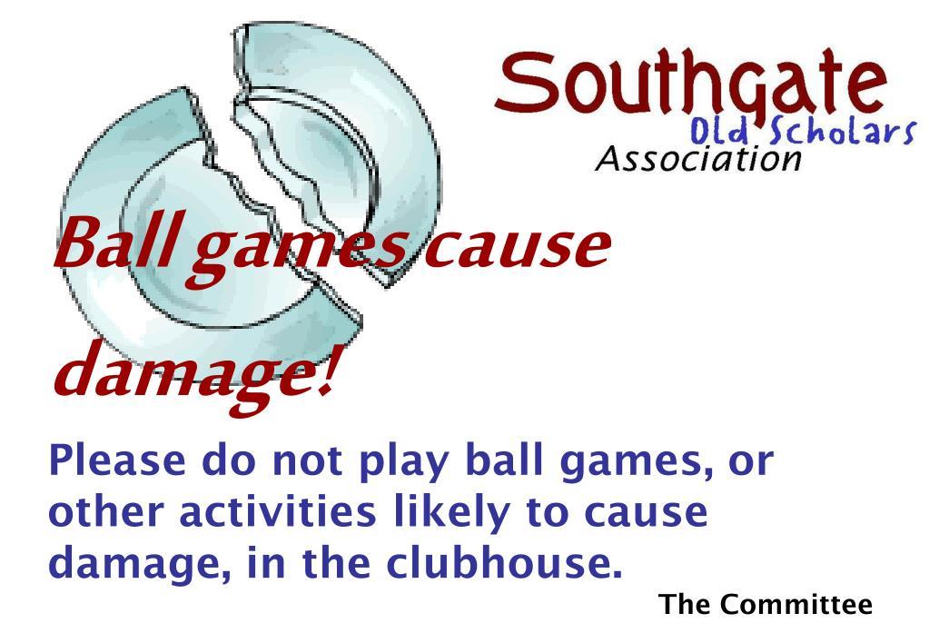 Ball games cause damage!