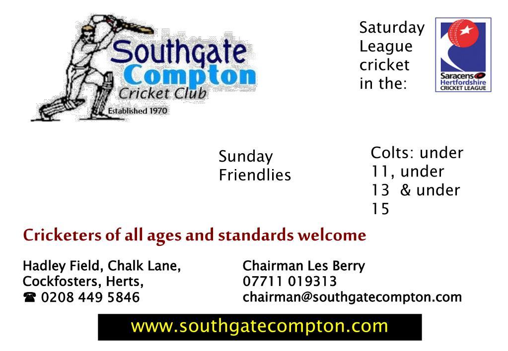 Saturday League cricket in the: