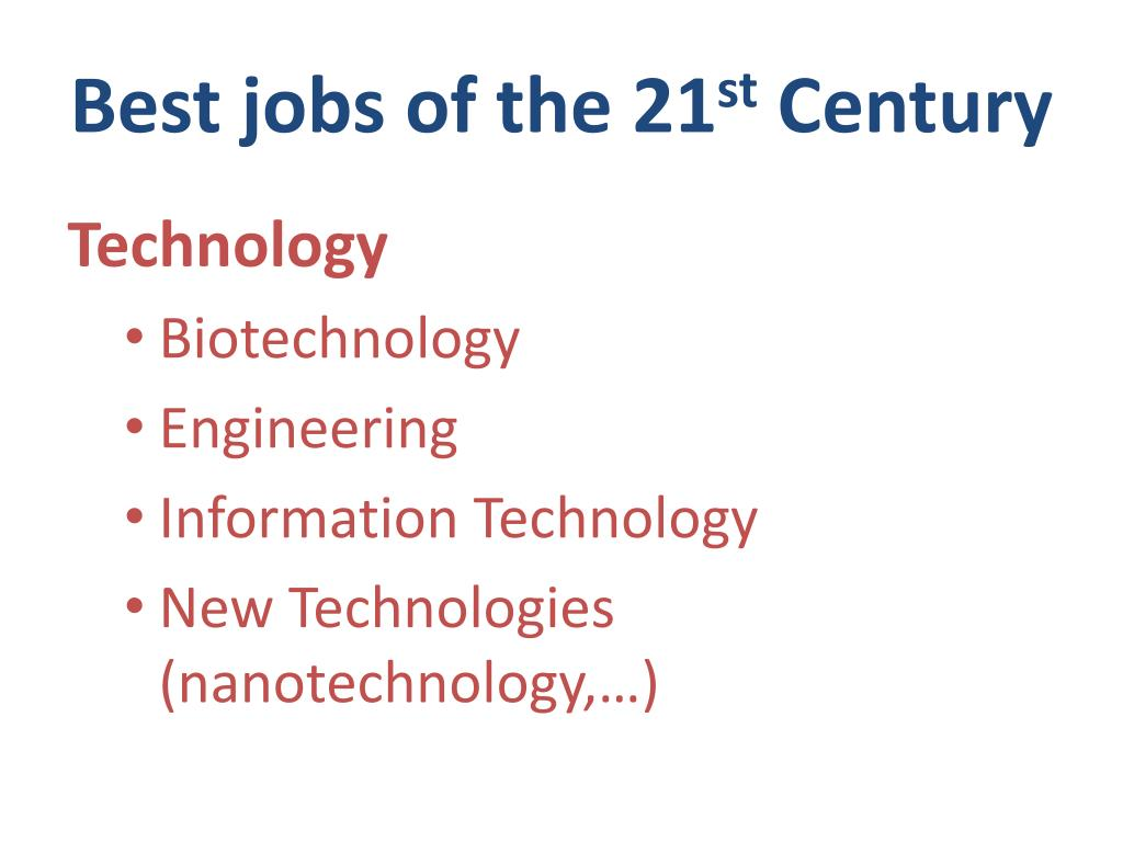 Best jobs of the 21