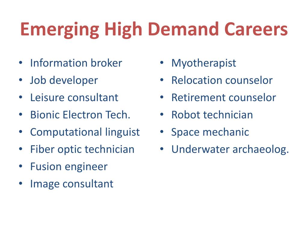 Emerging High Demand Careers