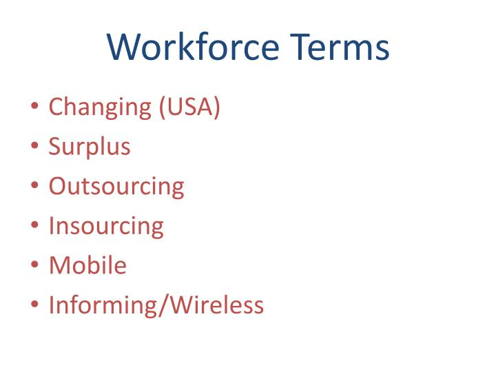 Workforce terms