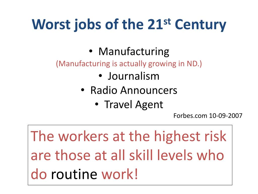 Worst jobs of the 21