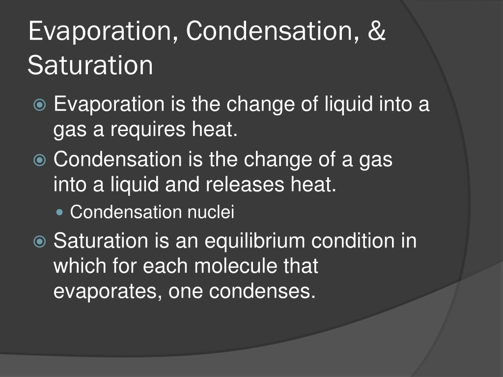 Evaporation, Condensation, & Saturation