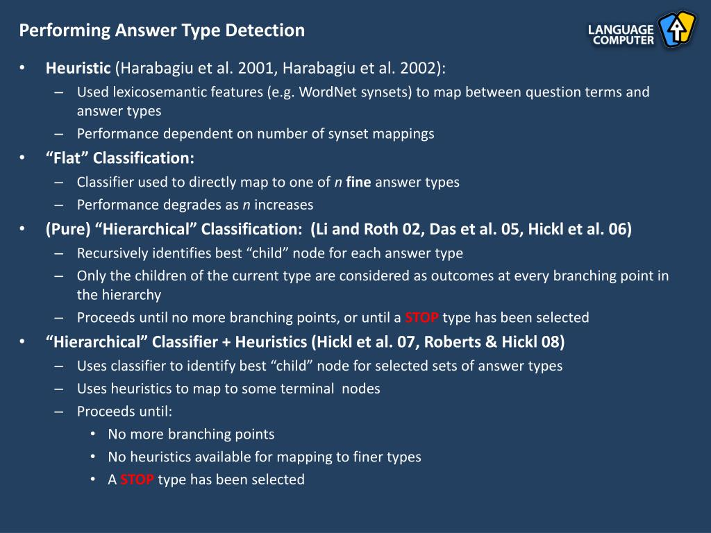 Performing Answer Type Detection