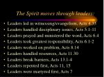 the spirit moves through leaders
