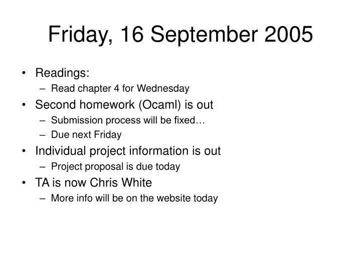 Friday, 16 September 2005
