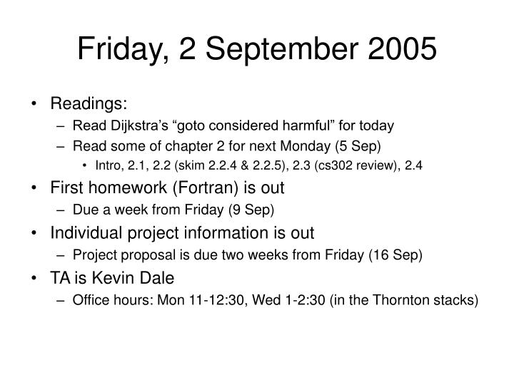 Friday, 2 September 2005
