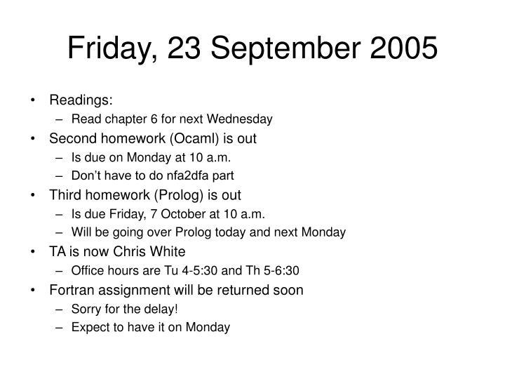 Friday, 23 September 2005