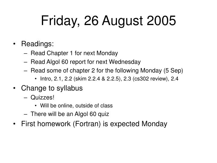 Friday, 26 August 2005