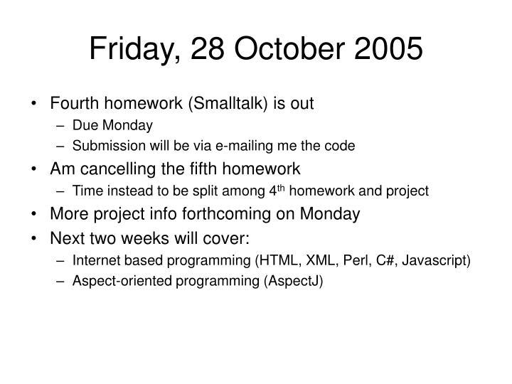 Friday, 28 October 2005
