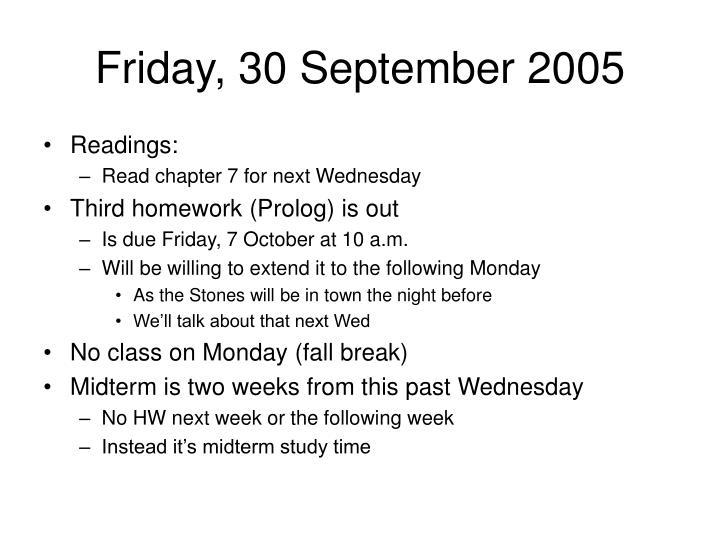Friday, 30 September 2005