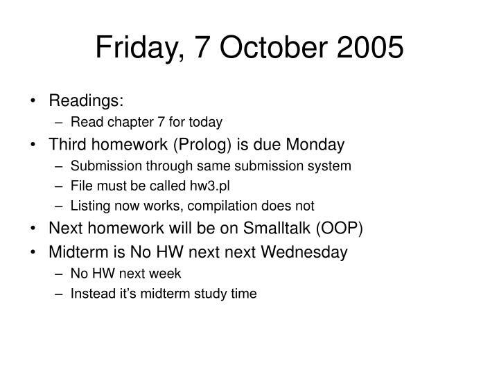 Friday, 7 October 2005