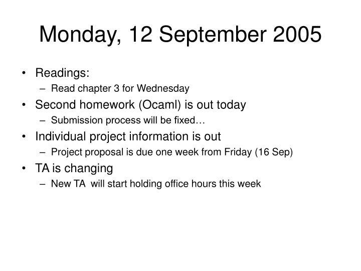 Monday, 12 September 2005