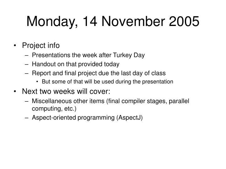 Monday, 14 November 2005