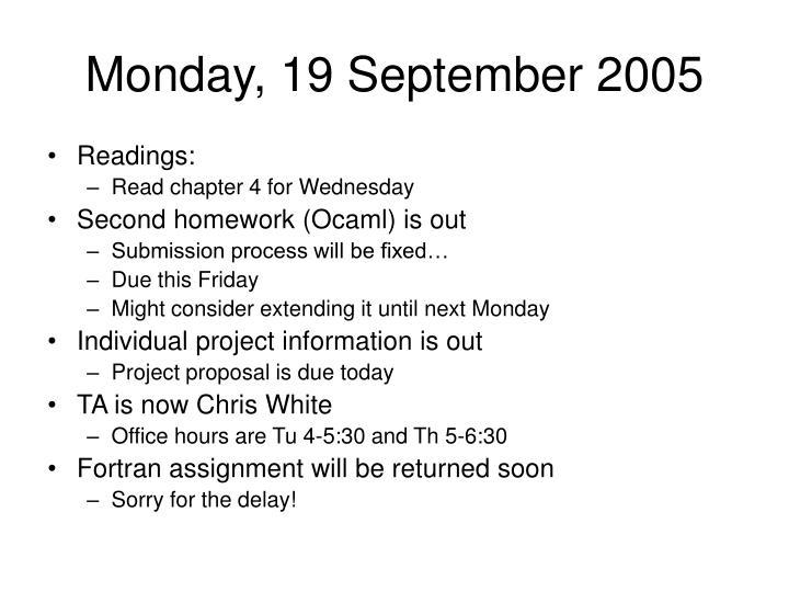 Monday, 19 September 2005