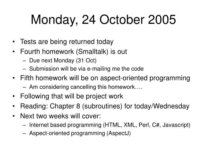 Monday, 24 October 2005