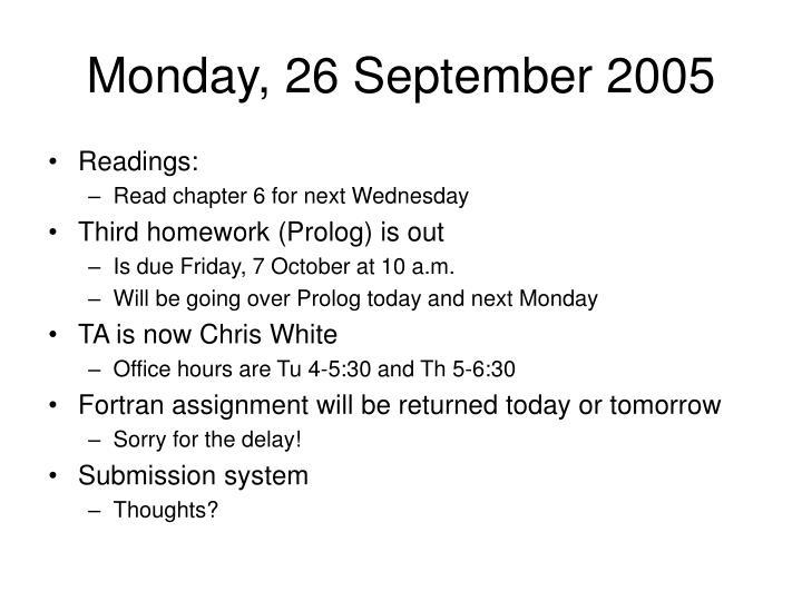 Monday, 26 September 2005