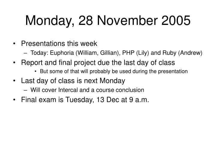 Monday, 28 November 2005