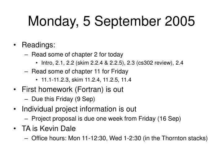 Monday, 5 September 2005
