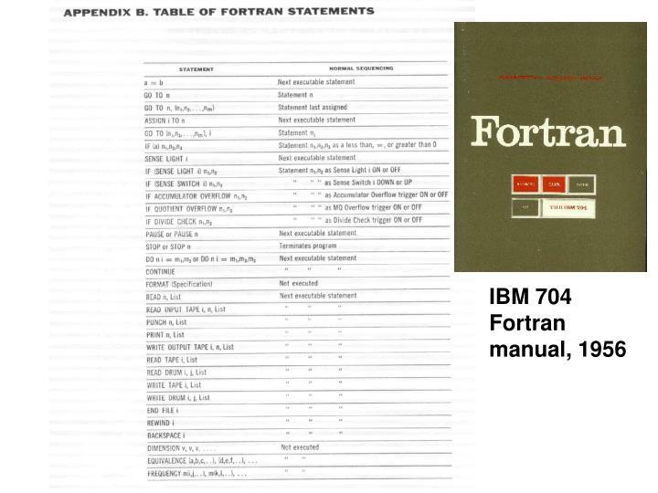 IBM 704 Fortran manual, 1956