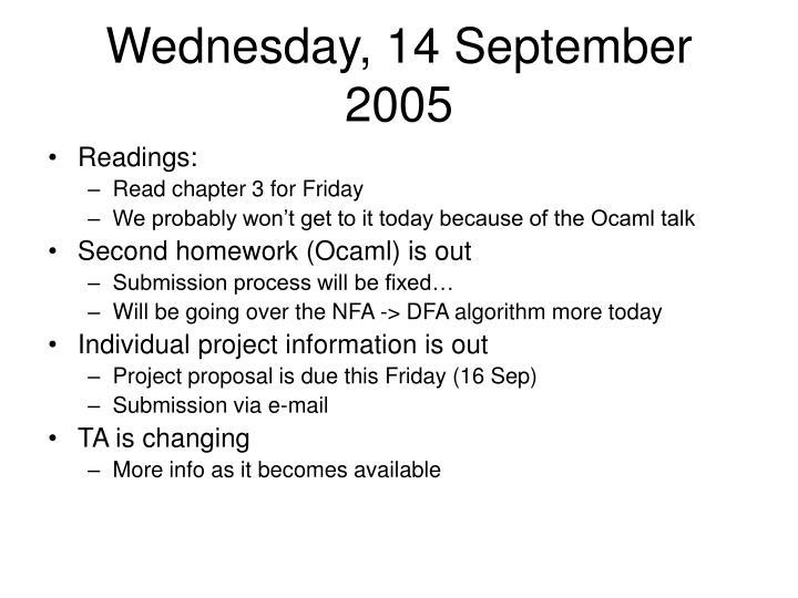 Wednesday, 14 September 2005