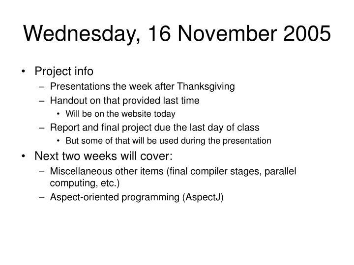 Wednesday, 16 November 2005