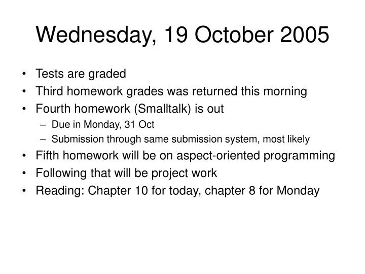 Wednesday, 19 October 2005